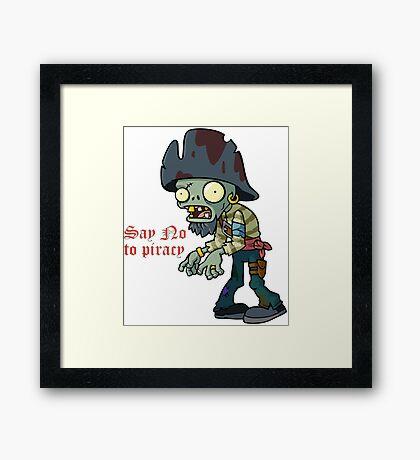 Plants vs Zombies  Say No To Piracy Framed Print