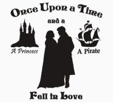 "Captain Swan ""A Princess and a Pirate"" Silhouette Design  One Piece - Short Sleeve"
