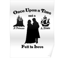 "Captain Swan ""A Princess and a Pirate"" Silhouette Design  Poster"