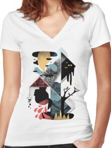 Shapes and Nightmares Women's Fitted V-Neck T-Shirt