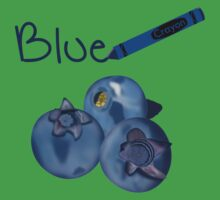 Blue Crayon with Three Blueberries One Piece - Short Sleeve