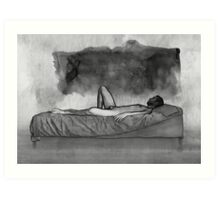 Black Thoughts - male nude lying Art Print
