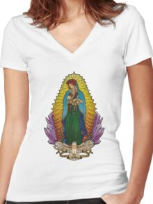 Our Lady Mother Nature Women's Fitted V-Neck T-Shirt