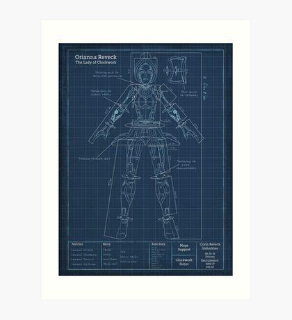 Orianna Robotic Blueprint Art Print