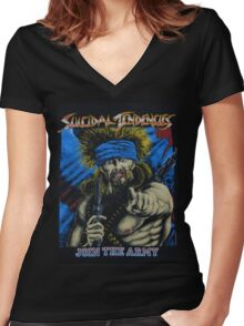 Suicidal Tendencies Join the Army Women's Fitted V-Neck T-Shirt