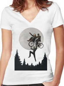Holiday To The Moon Women's Fitted V-Neck T-Shirt