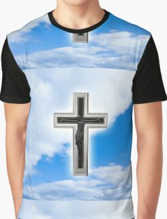 Christian cross at blue sky background Graphic T-Shirt