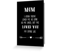 Mom I've Loved You My Entire Life Greeting Card
