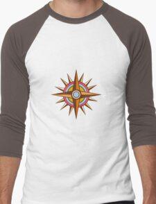 Vintage Compass Star Isolated Retro Men's Baseball ¾ T-Shirt