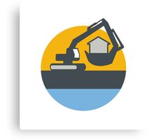 Excavator Digger Handling House Circle Retro Canvas Print