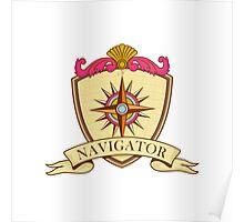 Compass Navigator Coat of Arms Crest Retro Poster