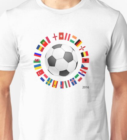 2016 European Championship in France with flags of the countries Unisex T-Shirt