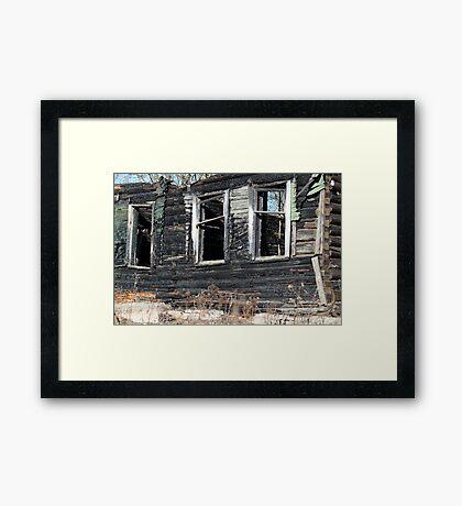empty window burnt house Framed Print