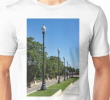 The Marching Streetlights Parade - a Perspective Study in Barcelona  Unisex T-Shirt
