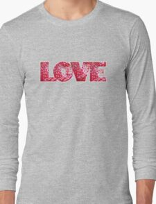 Valentines Strawberry LOVE text Long Sleeve T-Shirt