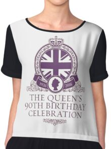 Queen's 90th Birthday #HappyBirthdayYourMajesty (T-shirt, Phone Case & more) Chiffon Top