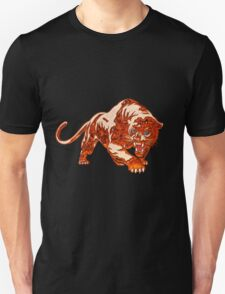 Tiger In Orange Flames With Blue Eyes Unisex T-Shirt