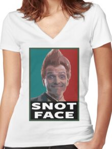 Snot Face Women's Fitted V-Neck T-Shirt