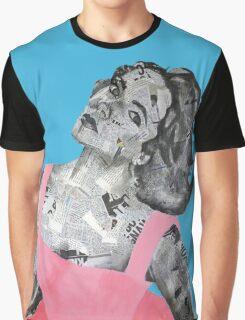 Elizabeth Taylor Newspaper Portrait Graphic T-Shirt