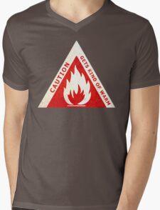 CAUTION - GETS KIND OF WARM Mens V-Neck T-Shirt