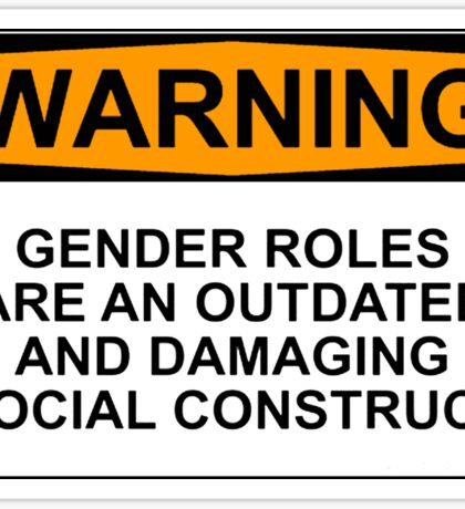 WARNING: GENDER ROLES ARE AN OUTDATED AND DAMAGING SOCIAL CONSTRUCT Sticker
