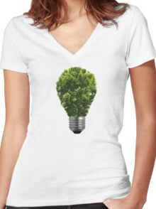 Green Lightbulb Women's Fitted V-Neck T-Shirt