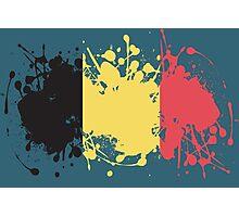 Belgium Flag Ink Splatter Photographic Print