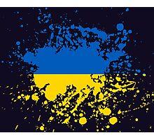 Ukraine Flag Ink Splatter Photographic Print