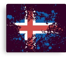 Iceland Flag Ink Splatter Canvas Print