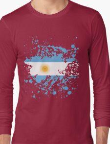 Argentina Flag Ink Splatter Long Sleeve T-Shirt