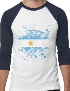 Argentina Flag Ink Splatter Men's Baseball ¾ T-Shirt