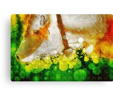 Digitally manipulated Cow with Bell. Canvas Print
