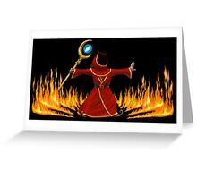 Magicka, Wizard with fire spell Greeting Card