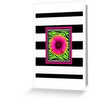 Pink & Green Wild Child Flower Greeting Card