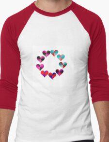 Ring of Iridescent Electric Rainbow Hearts Men's Baseball ¾ T-Shirt