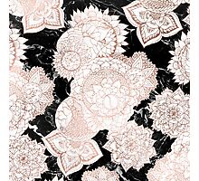 Modern rose gold floral mandala chic marble Photographic Print