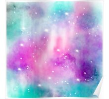 Trendy bright watercolor pastel nebula space hand painted Poster