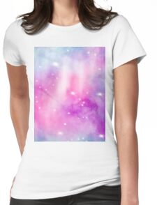 Trendy bright watercolor pastel nebula space hand painted Womens Fitted T-Shirt