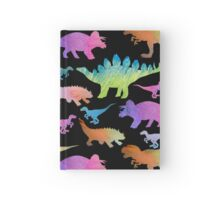 Dinosaur rainbow on black Hardcover Journal