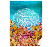 Orange Lilies & White Mandala on Blue Poster