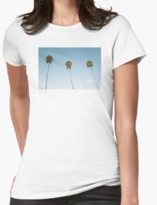Summer palm trees Blue Womens Fitted T-Shirt