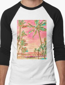 Vintage Hawaiian Beach Scene, Pink Men's Baseball ¾ T-Shirt