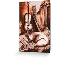 MUSICAL CAT AND OWL  Brown Sepia White Greeting Card