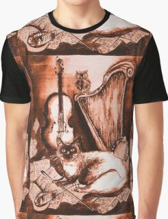 MUSICAL CAT AND OWL  Brown Sepia White Graphic T-Shirt