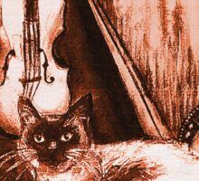MUSICAL CAT AND OWL  Brown Sepia White Sticker