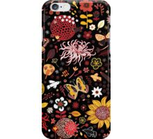 Japanese Garden - Red, Gold and Rust on Black iPhone Case/Skin