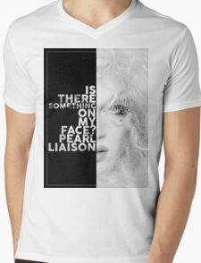 Pearl Liaison Text Portrait Mens V-Neck T-Shirt