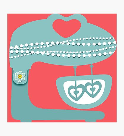 Girly baking stand mixer hearts pearls Photographic Print