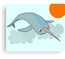 Narwhale in the sky Canvas Print