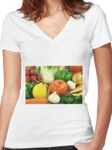 Vegetables, Fruits, Ingradients and Spices  Women's Fitted V-Neck T-Shirt